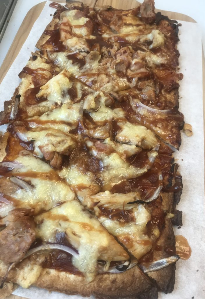 Smoked Chicken, Red Onion, Swiss Cheese and Barbecue Sauce Flatbread